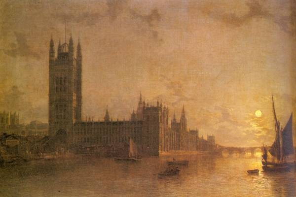 Westminster Abbey The Houses Of Parliament With The Construction Of Westminister Bridge